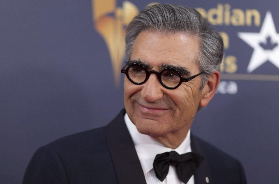 """<span class=""""caption"""">Eugene Levy, who co-created 'Schitt's Creek,' with son Dan Levy, arrives on the red carpet at the 2016 Canadian Screen Awards in Toronto in 2016. </span> <span class=""""attribution""""><span class=""""source"""">THE CANADIAN PRESS/Chris Young </span></span>"""