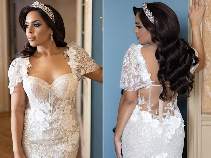 A front and back shot of the bodice of Vishnell's dress