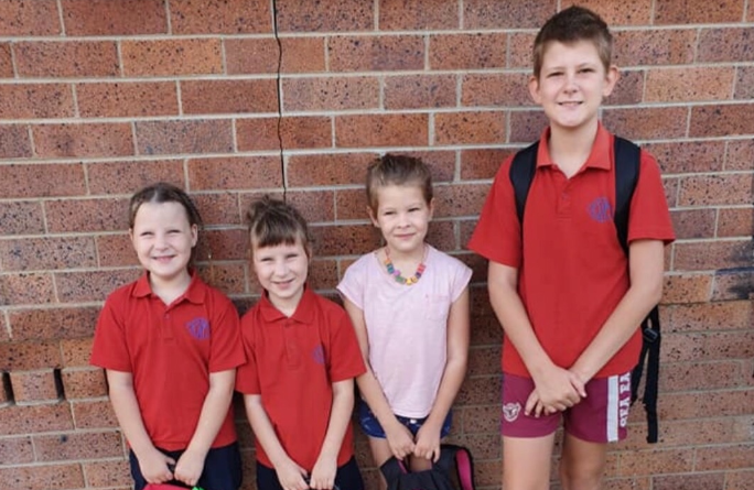Matylda and Scarlett Atkins, both aged 5, are pictured with siblings Bayley, 8, and Blake, 11. Scarlett, Matylda and Blake all died in a house fire at Singleton in the Hunter Valley on Wednesday morning. Matylda and Scarlett both died in hospital while Blake was found dead inside the house by fire fighters.