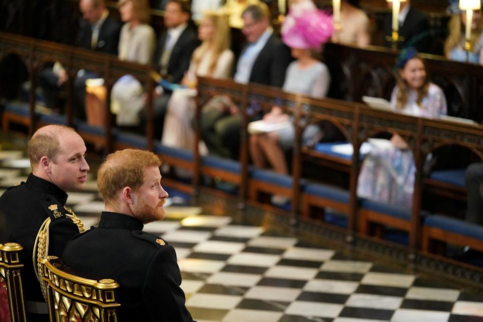Prince Harry waits with his brother for the bride to arrive (Picture: PA)