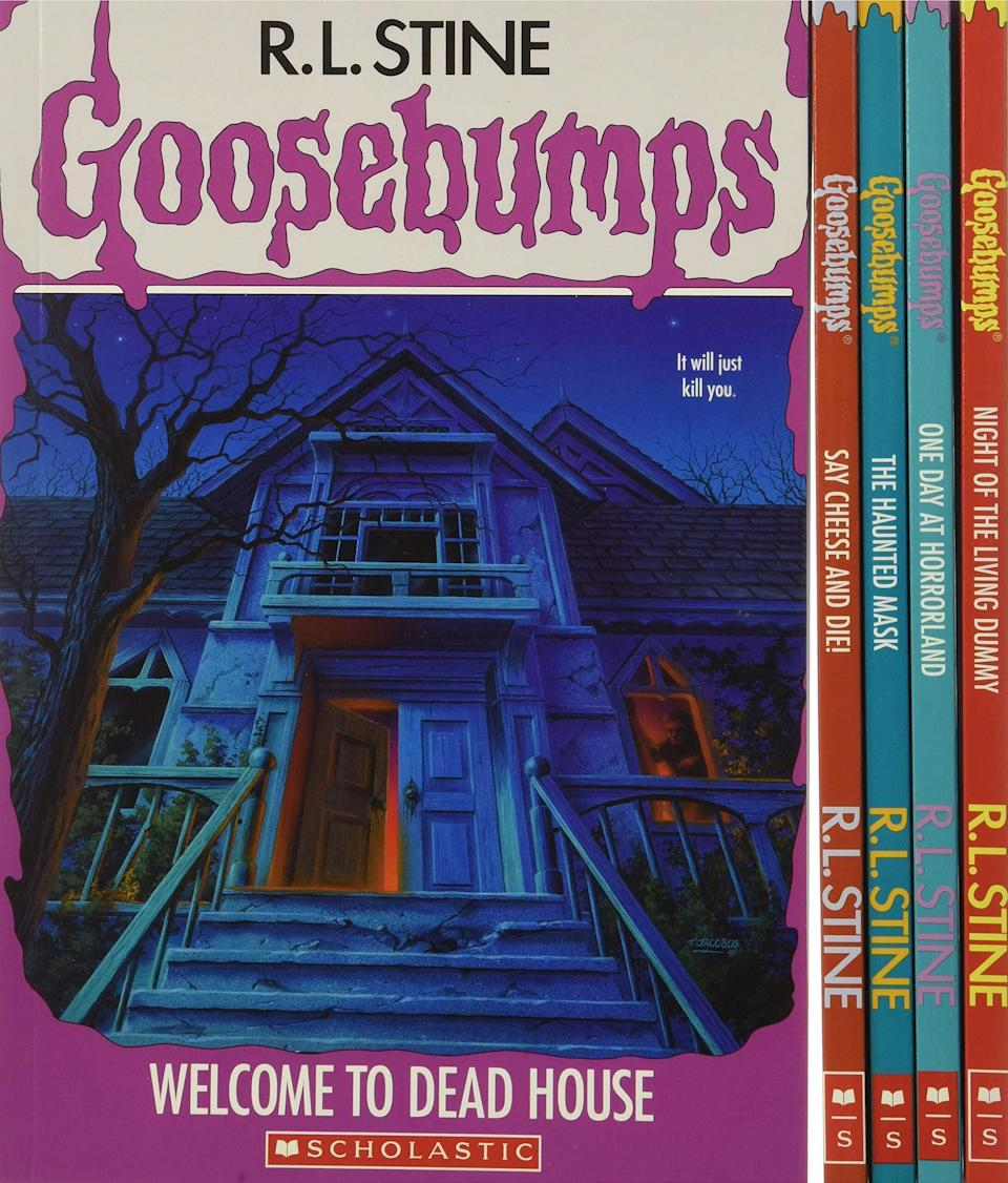 """Introduce the kiddos to these fun spooky tales you used to read while you were tucked in bed with a flashlight.<br /><br /><strong>Promising review:</strong>""""For anyone who was akidin the '90s, this is such a fun throwback. I have no idea what happened to my original 'Goosebumps' collection, but I was so disappointed when I saw that they've all be re-released with new cover art. <strong>This set with the original covers is like a little time capsule back to 1994.</strong> Although the 'Goosebumps' title on the cover doesn't have the raised texture punched into the paper like the originals, everything else is true to my memories.""""— <a href=""""https://amzn.to/3fm5EJy"""" target=""""_blank"""" rel=""""noopener noreferrer"""">Forrest</a><br /><br /><strong><a href=""""https://amzn.to/3bAkjzO"""" target=""""_blank"""" rel=""""noopener noreferrer"""">Get it from Amazon for $18.95.</a></strong>"""