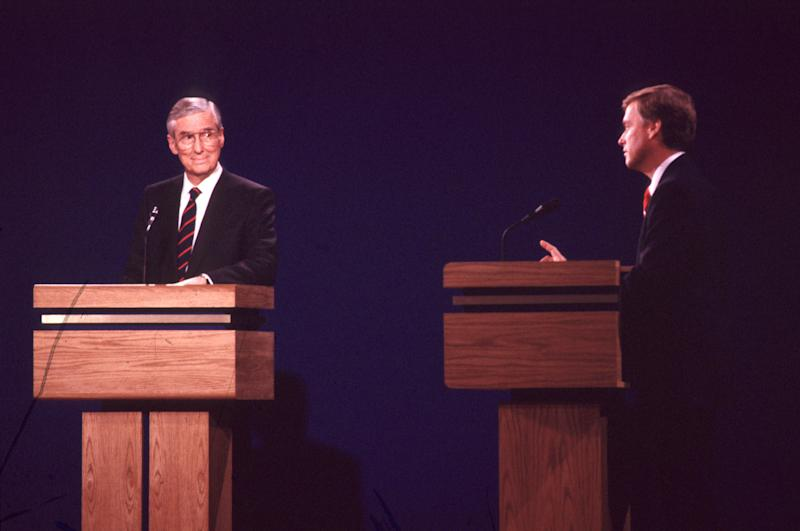 Vice presidential candidates Sen. Lloyd Bentsen and Sen. Dan Quayle at a campaign debate in 1988. (Photo: Steve Liss/the Life Images Collection via Getty Images/Getty Images)