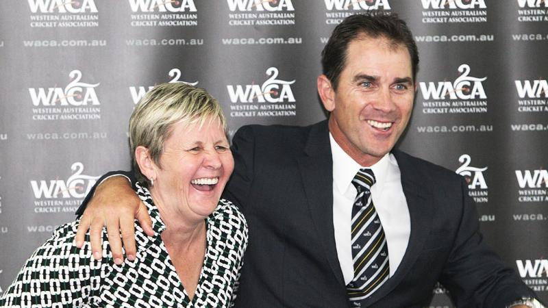 Aussie cricket coach Justin Langer (pictured right) has praised WACA Chief Executive Officer Christina Matthews (pictured left) as a potential CA chief. (Getty Images)