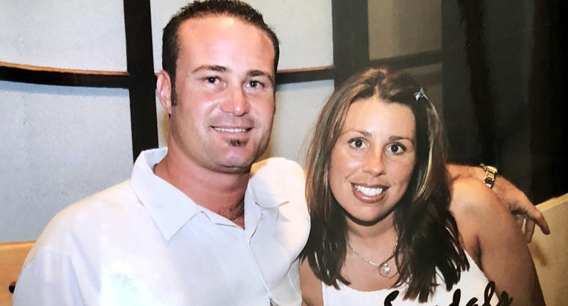 Cassondra Reynolds (right) wants the US government to ban energy drinks after the death of her husband, John (left).