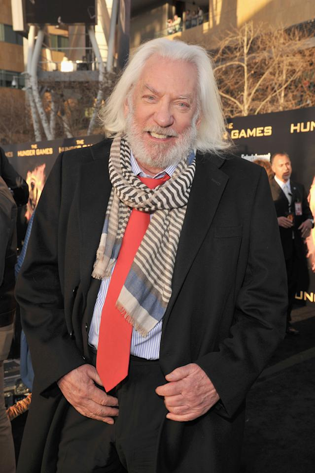 "Donald Sutherland arrives at the world premiere of ""The Hunger Games"" in Los Angeles, California."