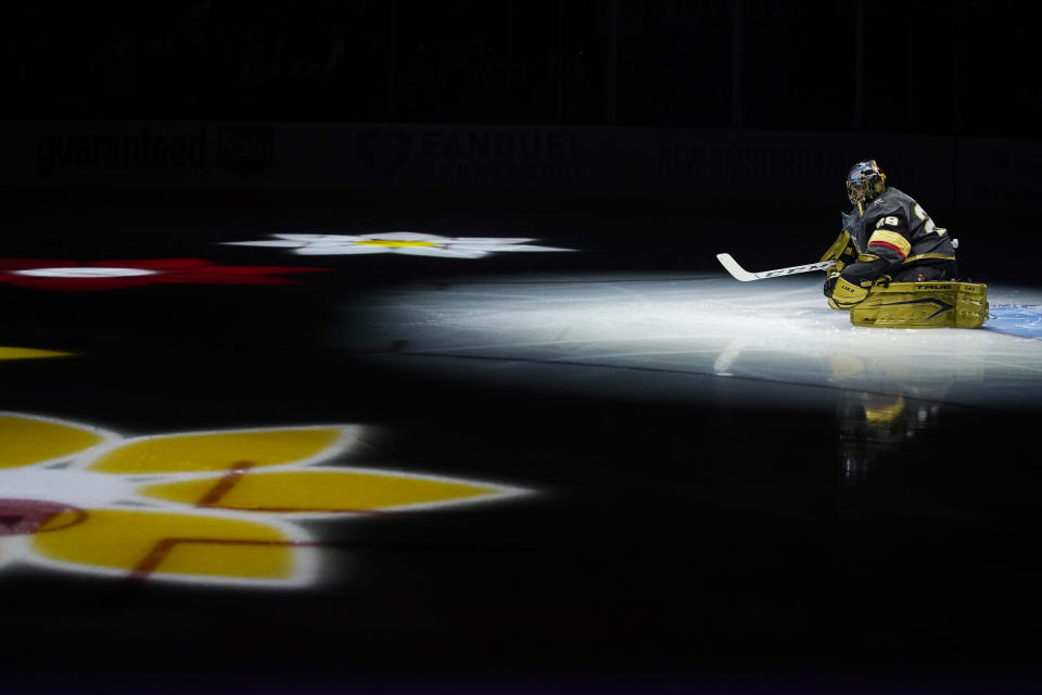 Vegas Golden Knights goaltender Marc-Andre Fleury (29) warms up before Game 6 of an NHL hockey Stanley Cup second-round playoff series against the Colorado Avalanche, Thursday, June 10, 2021, in Las Vegas. (AP Photo/John Locher)