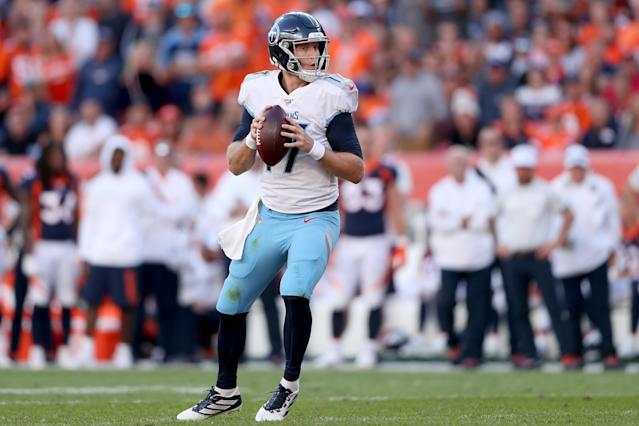 The Titans will reportedly start Ryan Tannehill on Sunday, sticking with the quarterback after benching Marcus Mariotta in the second half last week. (Matthew Stockman/Getty Images)