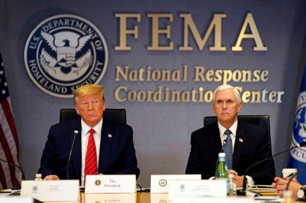 PHOTO: U.S. President Donald Trump and Vice President Mike Pence attend a teleconference with governors to discuss partnerships to 'prepare, mitigate and respond to COVID-19' at the FEMA headquarters in Washington, D.C., U.S., March 19, 2020. (Evan Vucci/Pool via Reuters)