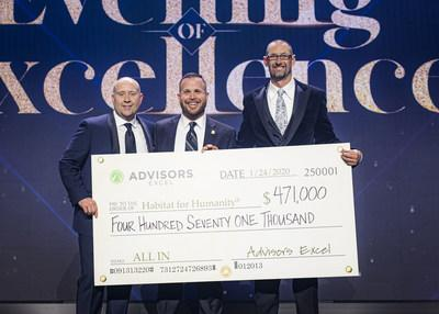 Habitat for Humanity's Vice President for Individual Giving, middle, receives check from Advisors Excel Co-Founders Cody Foster, left and David Callanan, right.