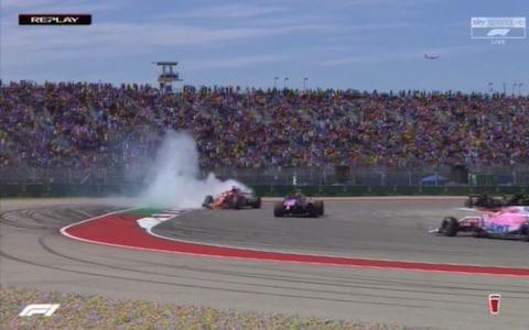 Sebastian Vettel facing the wrong way after a collision - Credit: SKY SPORTS F1