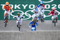 <p>TOKYO, JAPAN - JULY 29: Joris Harmsen of the Netherlands, Evgeny Kleshchenko of Russia, Tore Navrestad of Norway, Vincent Pelluard of Colombia, Simon Marquart of Suisse and Joris Daudet of France during the start competing on Quarterfinals during the Tokyo 2020 Olympic Games at the Aomi Urban Sports Park on July 29, 2021 in Tokyo, Japan (Photo by Ronald Hoogendoorn/BSR Agency/Getty Images)</p>