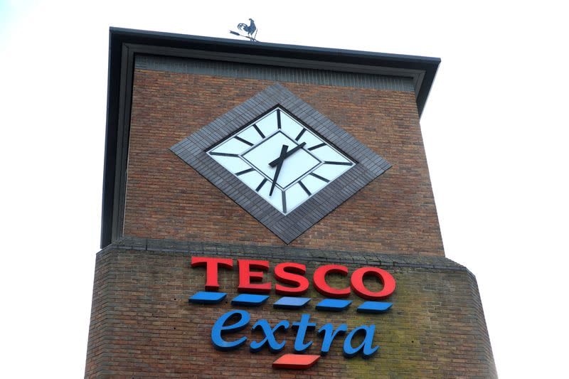FILE PHOTO: A logo of Tesco is pictured outside a Tesco supermarket in Hatfield
