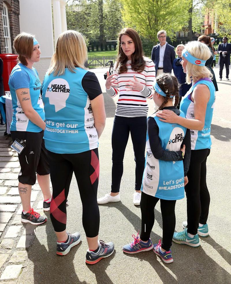 The Duchess of Cambridge spoke to the runners as they prepare for this year's Virgin Money London Marathon (PA)