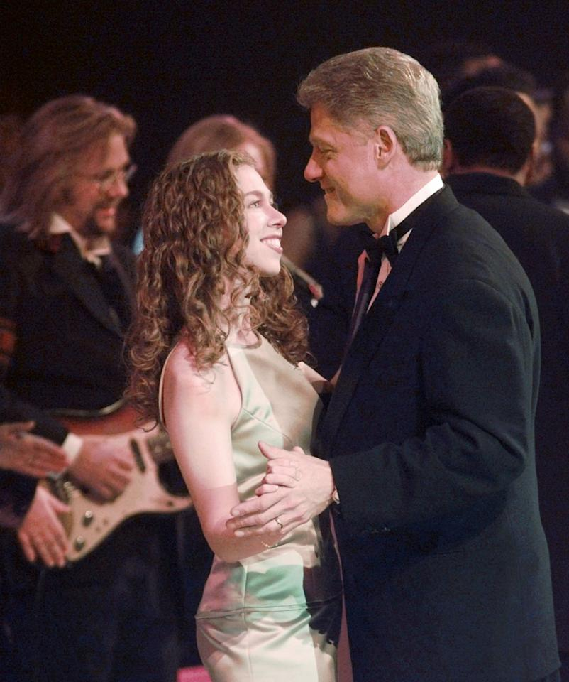 President Clinton and his daughter Chelsea dance at the Arkansas Inaugural Ball in celebration of the 53rd Presidential Inauguration Monday night, Jan. 20, 1997, in Washington. (AP Photo/Susan Walsh)