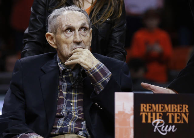 FILE - In this Jan. 20, 2018 file photo, former Oklahoma State basketball coach Eddie Sutton is pictured on the court in Stillwater, Okla. Sutton is part of a nine-person group announced Saturday, April 4, 2020, as this years class of enshrinees into the Naismith Memorial Basketball Hall of Fame. (AP Photo/Sue Ogrocki, File)