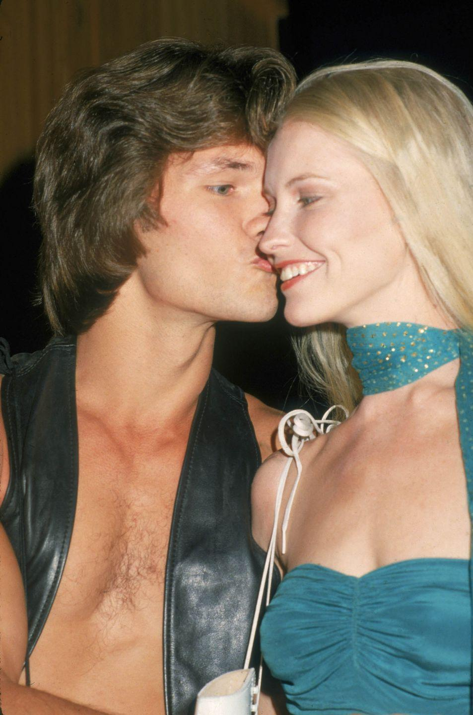 <p>Patrick Swayze kisses his wife, Lisa Niemi at the premiere party for the movie 'Skatetown USA' at Flippers roller rink, Los Angeles, California, October 1979.</p>