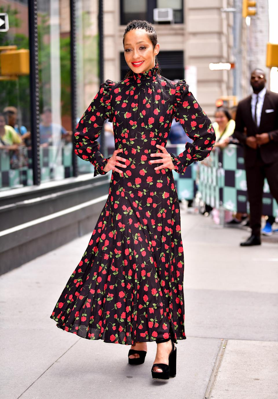 <p>Ruth Negga was spotted in New York wearing a summer-ready floral dress by Michael Kors. [Photo: Getty] </p>