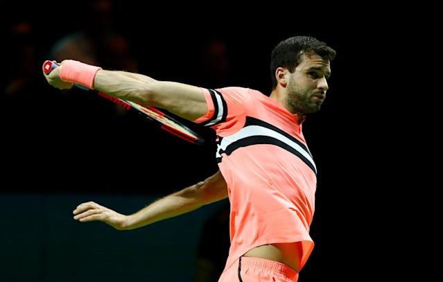 Tennis - ATP 500 - Rotterdam Open - Final - Ahoy, Rotterdam, Netherlands - February 18, 2018 - Grigor Dimitrov of Bulgaria is seen in action against Roger Federer of Switzerland. REUTERS/Michael Kooren