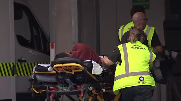 <p>An image grab from TV New Zealand taken on March 15, 2019 shows a victim arriving at a hospital following the mosque shooting in Christchurch. The country's Prime Minister Jacinda Ardern described the shooting as 'one of New Zealand's darkest days'. (Photo by TV New Zealand/ AFP/ Getty Images) </p>