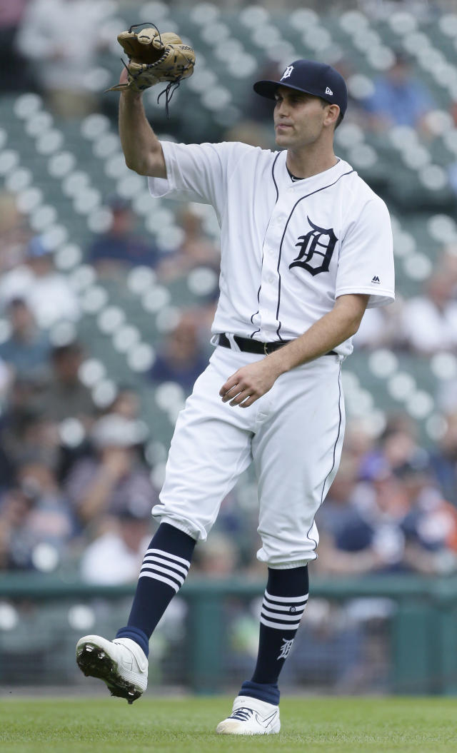 Detroit Tigers starting pitcher Matthew Boyd (48) reacts after giving up a two-run home run to New York Yankees' Luke Voit during the first inning of the first game of a baseball doubleheader, Thursday, Sept. 12, 2019, in Detroit. (AP Photo/Duane Burleson)