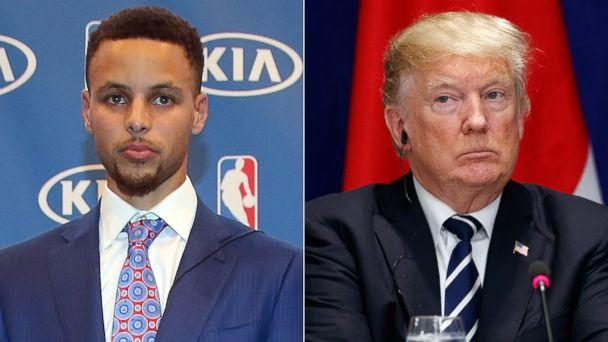 PHOTO: Pictured (L-R) are Stephen Curry in Oakland, Calif., May 10, 2016 and President Donald Trump in New York, Sept. 21, 2017. (Getty Images | AP)