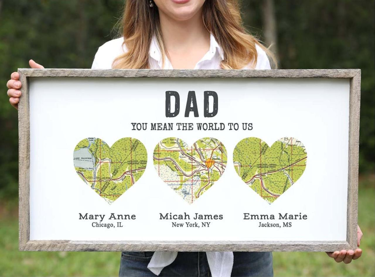 """<p>This <a href=""""https://www.popsugar.com/buy/Personalized-Long-Distance-Family-Wood-Heart-Map-578305?p_name=Personalized%20Long-Distance%20Family%20Wood%20Heart%20Map&retailer=etsy.com&pid=578305&price=49&evar1=moms%3Aus&evar9=46242180&evar98=https%3A%2F%2Fwww.popsugar.com%2Ffamily%2Fphoto-gallery%2F46242180%2Fimage%2F47512116%2FPersonalized-Long-Distance-Family-Wood-Heart-Map&list1=gifts%2Cgift%20guide%2Cfathers%20day%2Cetsy%2Cfathers%20day%20gift%20guide%2Cgifts%20for%20men&prop13=mobile&pdata=1"""" rel=""""nofollow"""" data-shoppable-link=""""1"""" target=""""_blank"""" class=""""ga-track"""" data-ga-category=""""Related"""" data-ga-label=""""https://www.etsy.com/listing/696743898/personalized-father-day-gift-for-him?ref=finds_l&amp;pro=1"""" data-ga-action=""""In-Line Links"""">Personalized Long-Distance Family Wood Heart Map</a> ($49+) will hold a special place in Dad's heart when you customize each location to reflect where his kids are living.</p>"""