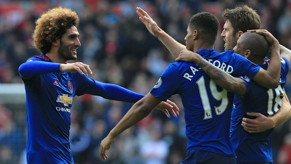 Marouane Fellaini Manchester United celebrate