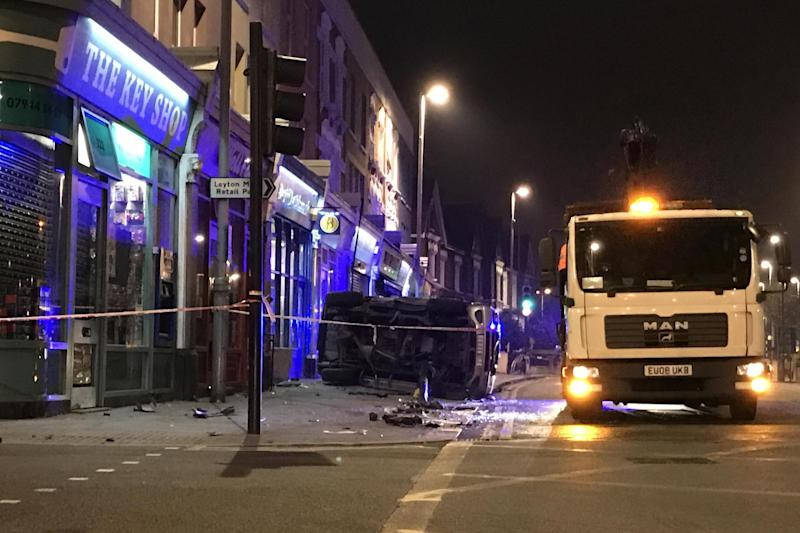 Crash scene: Leyton High Road in east London: Christiano Takatsch