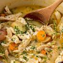 """<p>Looking for a hearty, healthy dinner? This chicken stew takes under an hour, but it tastes like it's been simmering on the stove for hours. Serve with a hearty piece of toasted <a href=""""https://www.delish.com/uk/cooking/recipes/a35286920/french-bread-recipe/"""" rel=""""nofollow noopener"""" target=""""_blank"""" data-ylk=""""slk:homemade bread"""" class=""""link rapid-noclick-resp"""">homemade bread</a>.</p><p>Get the <a href=""""https://www.delish.com/uk/cooking/recipes/a28852674/easy-chicken-stew-recipe/"""" rel=""""nofollow noopener"""" target=""""_blank"""" data-ylk=""""slk:Chicken Stew"""" class=""""link rapid-noclick-resp"""">Chicken Stew</a> recipe.</p>"""