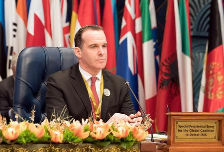 FILE PHOTO: U.S. envoy to the coalition against Islamic State Brett McGurk attends the Kuwait International Conference for Reconstruction of Iraq, in Bayan, Kuwait February 13, 2018. REUTERS/Stephanie McGehee/File Photo
