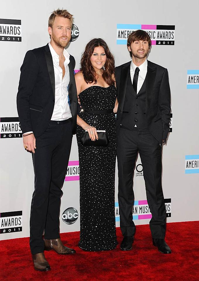 Charles Kelley, Hillary Scott, and Dave Haywood of Lady Antebellum arrive at the 2011 American Music Awards held at the Nokia Theatre L.A. LIVE. (11/20/2011)