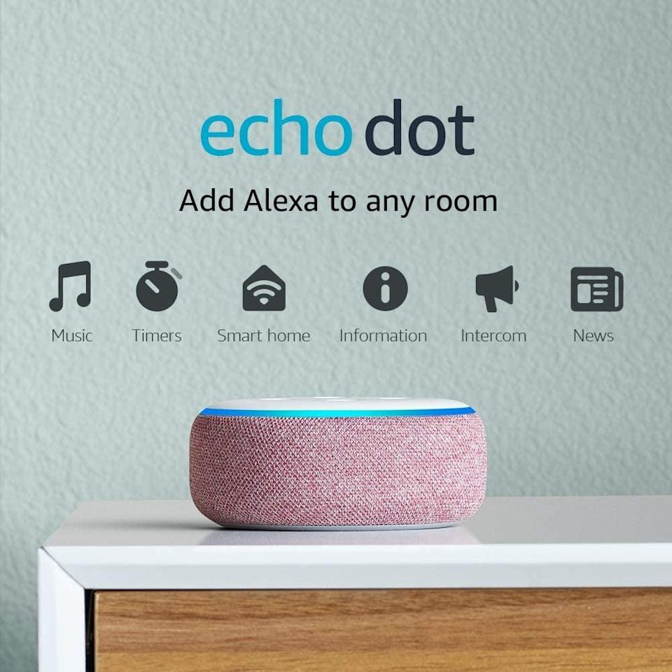<p>Get this <span>Echo Dot Smart Speaker with Alexa</span> ($30) has a handy helper around the house.</p>