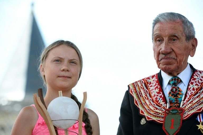 Thunberg paid tribute to WWII veterans (AFP Photo/JEAN-FRANCOIS MONIER                )