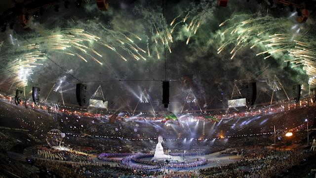 Fireworks explode over the Olympic Stadium during the opening ceremony of the London 2012 Paralympic Games, August 29, 2012. Picture taken August 29 REUTERS/Stefan Wermuth/Files