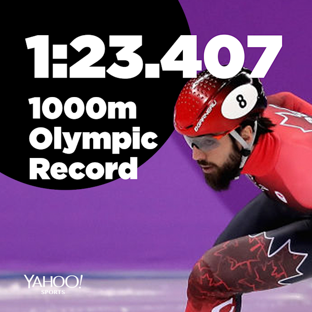Charles Hamelin sets Olympic record in the 1,000 meter short track speed skate.