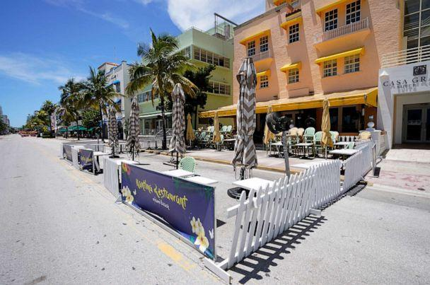PHOTO: Empty outdoor seating for a restaurant and closed hotels are shown, Aug. 11, 2020, in Miami Beach, Florida's famed Ocean Drive on South Beach. (Wilfredo Lee/AP)