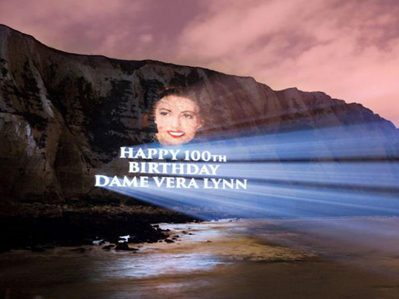 Dame Vera Lynn's portrait was projected onto the White Cliffs of Dover to celebrate her 100th birthday: PA