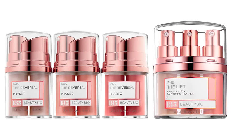 BeautyBio Full Size R45 The Reversal 3-Phase Skin Transforming Treatment Set protects your face and neck. (Photo: Nordstrom)