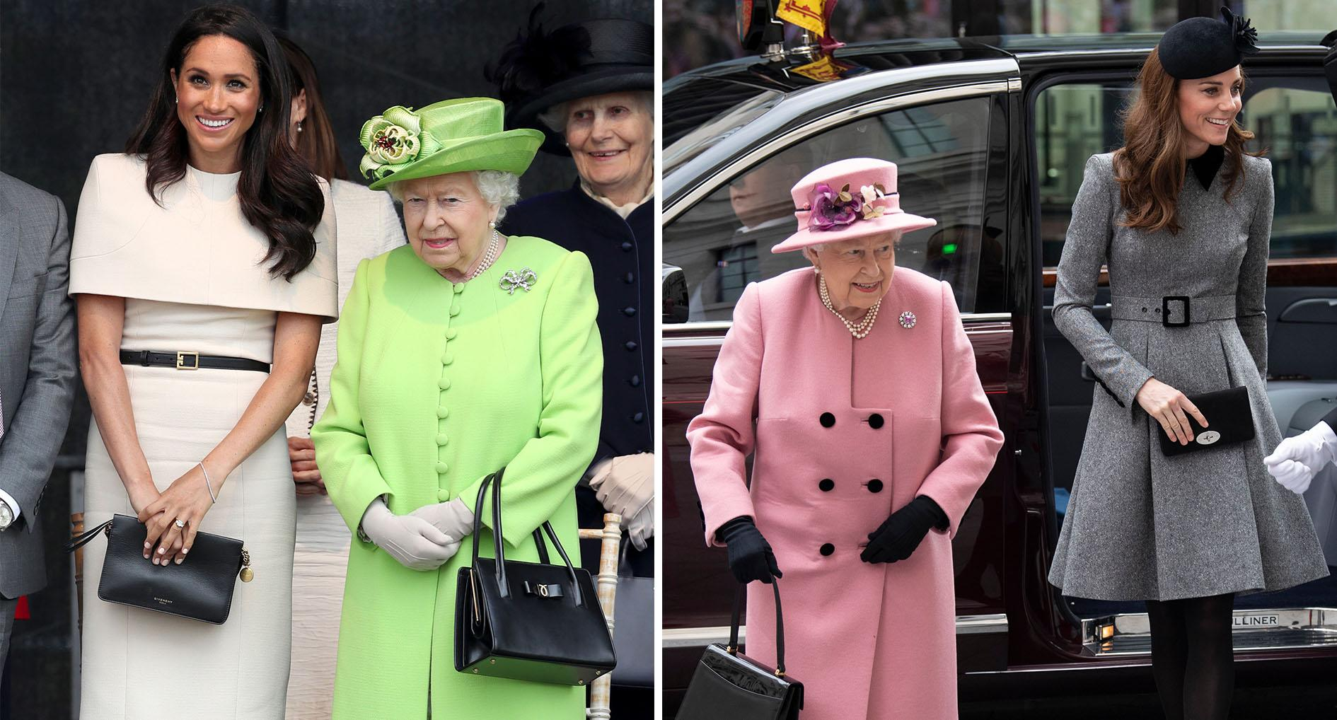 The Queen and Meghan in Cheshire, and Her Majesty and Kate at King's College London. [Photos: PA]