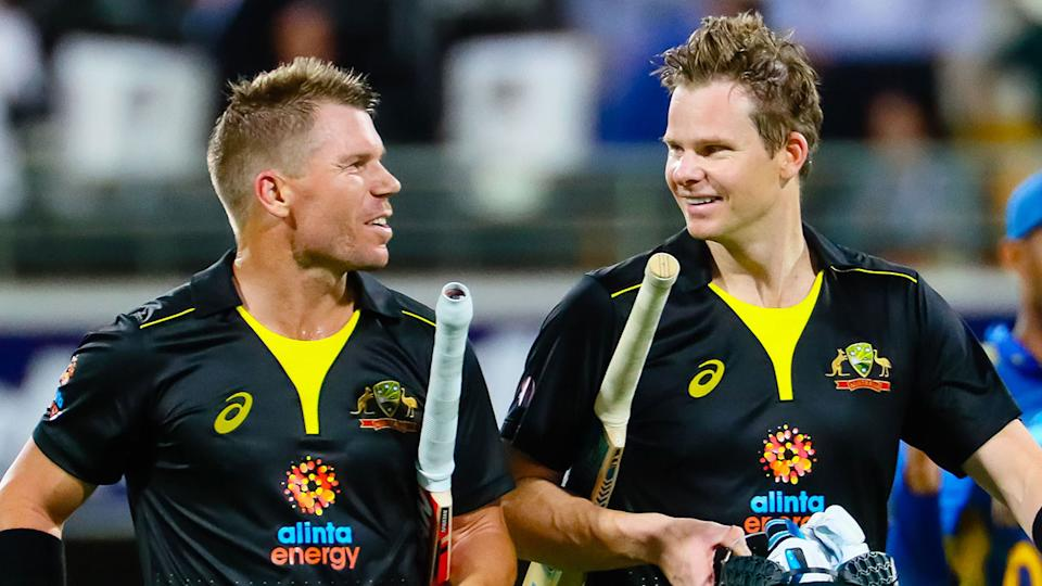 Pictured here, Australia batsmen David Warner and Steve Smith out in the middle together.