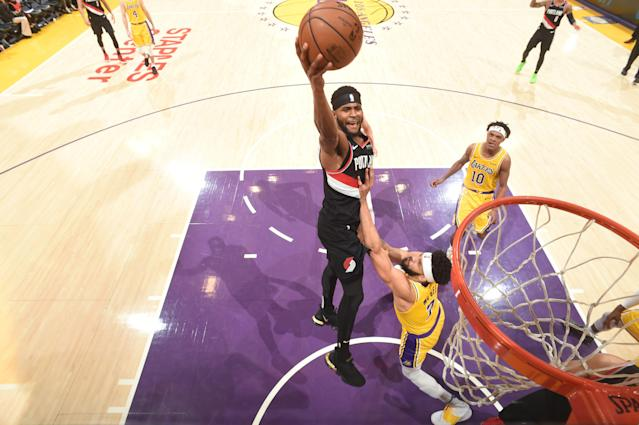 Maurice Harkless led the Trail Blazers past the Lakers on Tuesday night thanks to a buzzer-beating 3-pointer in Los Angeles. (Andrew D. Bernstein/Getty Images)