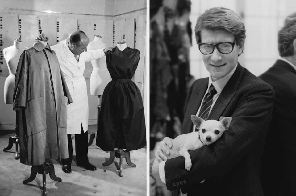 Dior examining mannequins, and Dior holding a dog