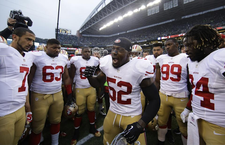 Patrick Willis, shown here in 2014, is a semifinalist for the Pro Football Hall of Fame Class of 2020. (AP/Matt Slocum)