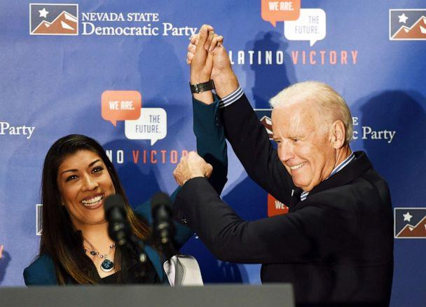 PHOTO: Democratic candidate for lieutenant governor and current Nevada Assemblywoman Lucy Flores introduces U.S. Vice President Joe Biden at a get-out-the-vote rally in Las Vegas, Nov. 1, 2014 . (Ethan Miller/Getty Images, FILE)