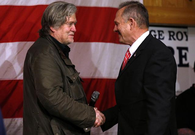 Steve Bannon and Roy Moore at a Moore campaign event Dec. 5. (Photo: Jonathan Bachman/Reuters)