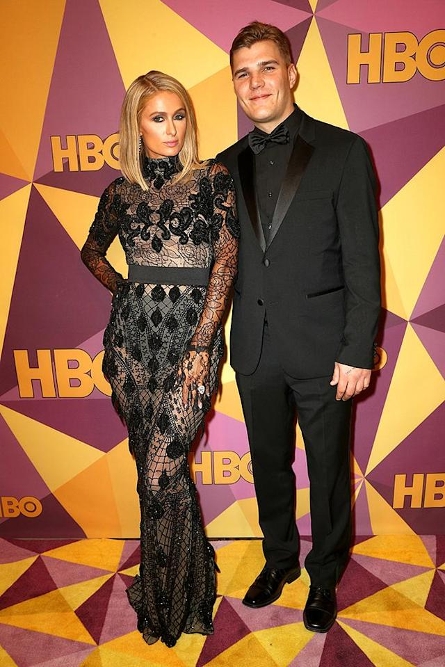 <p>Newly engaged Paris Hilton and her fiancé, Chris Zylka, attend HBO's after-party at Circa 55 restaurant. (Photo: Frederick M. Brown/Getty Images) </p>