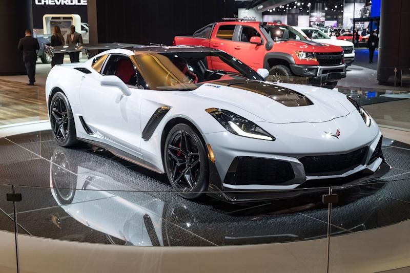 A 2019 Chevrolter Corvette ZR1 sits on the stage during the 2019 North American International Auto Show held at Cobo Center in downtown Detroit on Tuesday, Jan. 15, 2019. (Via OlyDrop)