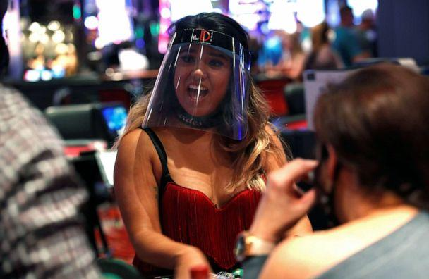 PHOTO: A blackjack dealer wears a face shield during the reopening of The D hotel-casino as part of steps to slow the spread of the coronavirus disease (COVID-19), in downtown Las Vegas, June 4, 2020. (Steve Marcus/Reuters)