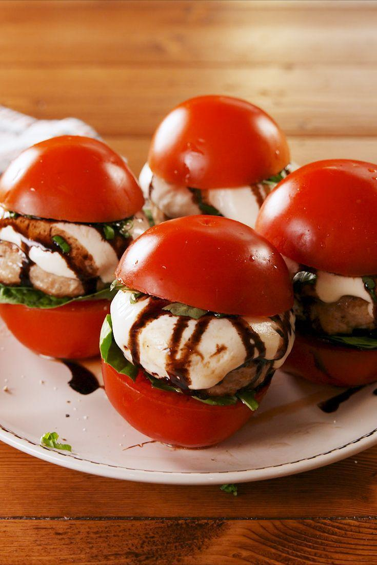 """<p>Packed with flavors from Italy. </p><p>Get the recipe from <a href=""""https://www.delish.com/cooking/recipe-ideas/a22372903/no-bun-bruschetta-burgers-recipe/"""" rel=""""nofollow noopener"""" target=""""_blank"""" data-ylk=""""slk:Delish"""" class=""""link rapid-noclick-resp"""">Delish</a>. </p>"""