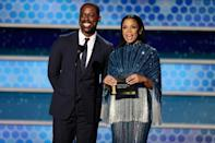 """""""This Is Us"""" stars Sterling K. Brown and Susan Kelechi Watson were two of several people who mentioned the controversy over the lack of Black members in the Hollywood Foreign Press Association, which organizes the Golden Globes"""